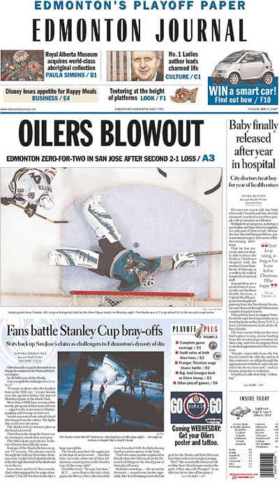 Edmonton Journal Playoff Cover