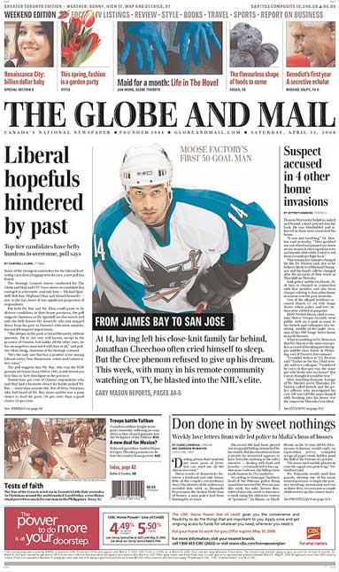 Globe and Mail Jonathan Cheechoo