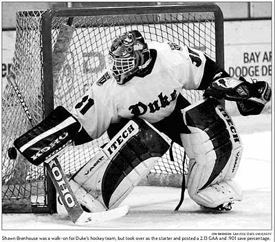 Duke goaltender Shawn Brenhouse