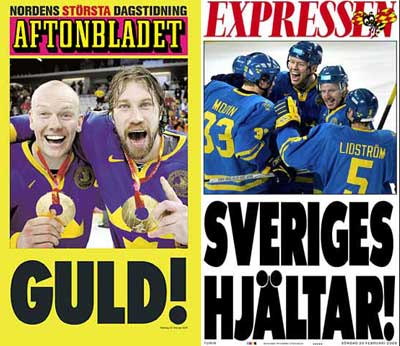 Aftonbladet Expressen Sweden Hockey Olympic cover