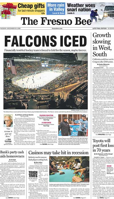 Fresno Bee cover Fresno Falcons cease operations December 23rd 2008