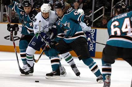 San Jose Sharks vs Vancouver Canucks hockey photo